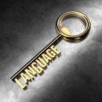 Language - golden key on black metallic background. 3d rendering