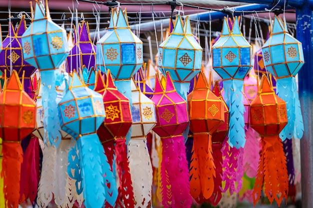Lanna lamp lantern are northern thai style lanterns in loi krathong or yi peng festival