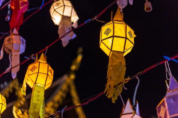 Lanna lantern are northern thai style lanterns in loi krathong or yi peng festival