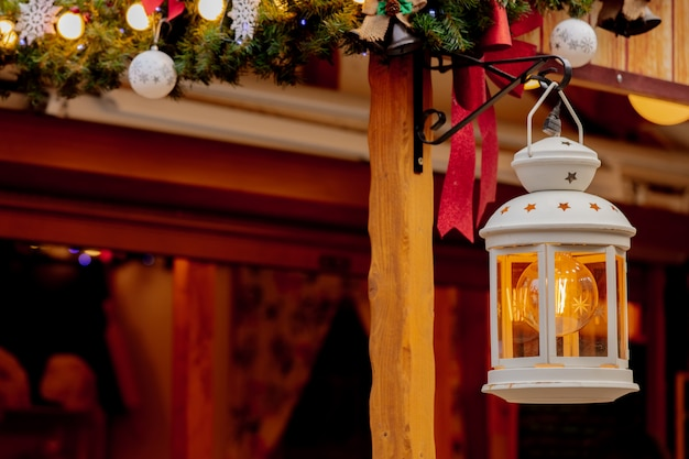 Lantern on christmas market in wroclaw, poland