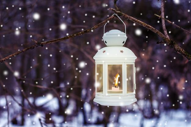 降雪時の夜に木の枝の森のキャンドルとランタン