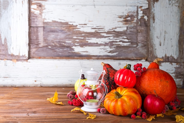 Lantern with candle, pumpkins and autumn decorations