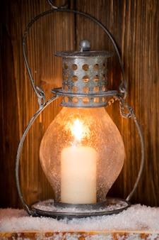 Фонарь со свечами, новогодний декор. открытка.