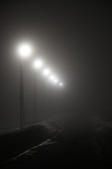 Lanterns along the night road in the fog