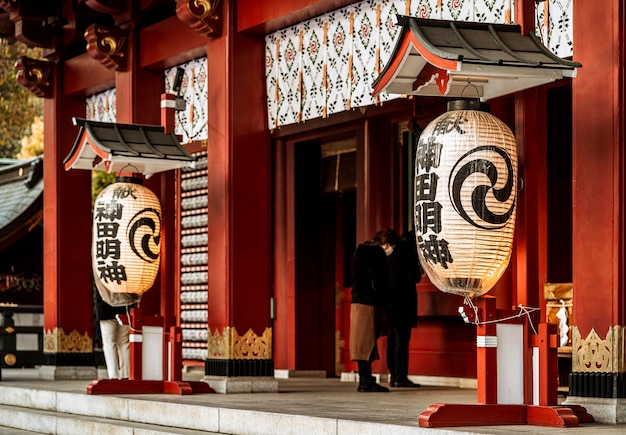 Lanterns hanging at the entrance of japanese temple