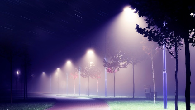 霧の中の夜の街の通りにある提灯。