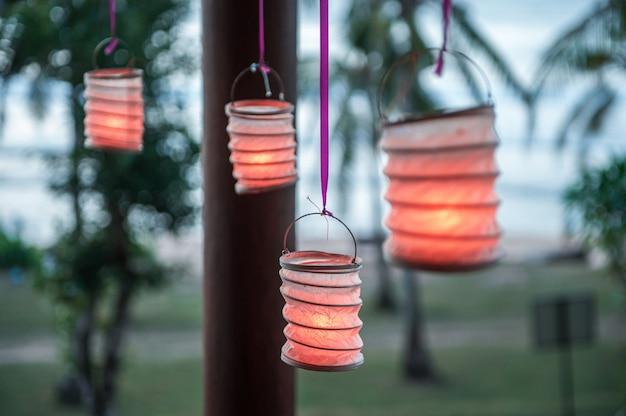 Lanterns of paper in the gazebo