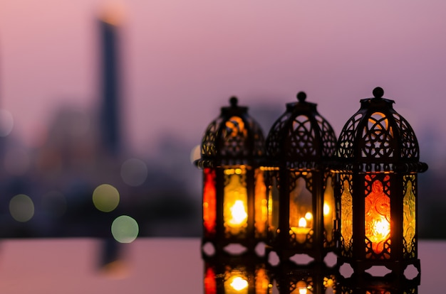 Lanterns with dusk sky for ramadan kareem.