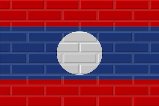 Laos brick flag illustration