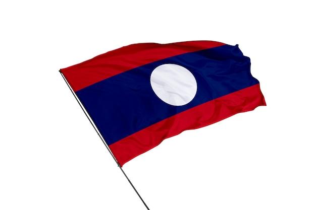 Флаг лаоса на белом фоне