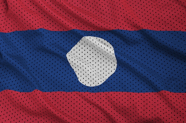Laos flag printed on a polyester nylon sportswear mesh fabric