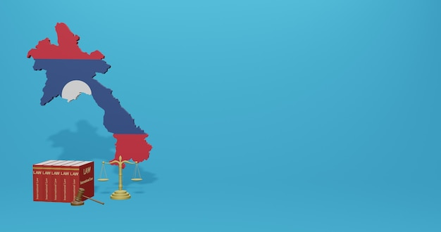 Laos law for infographics, social media content in 3d rendering