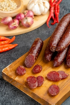 Lap cheong or chinese sausage are dried pork sausages