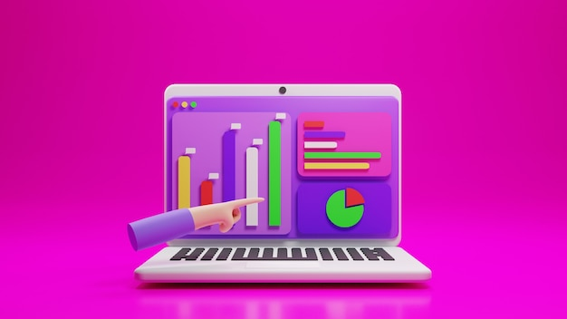 Laptop and analytic application with icon chart and hand gesture in 3d design