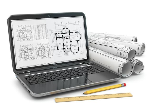 Ноутбук и план с проектом дома. 3d