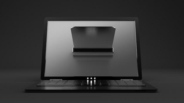 Ноутбук и кредитная карта. 3d иллюстрации, 3d рендеринг.
