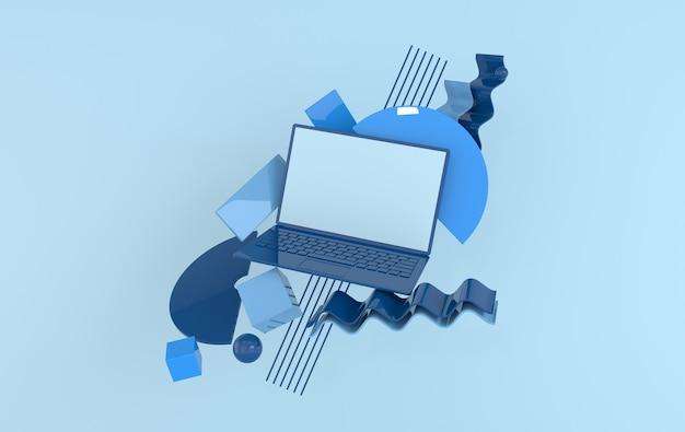 ラップトップとさまざまな幾何学的なオブジェクトのモックアップの背景をモダンなミニマルスタイルで
