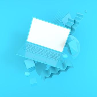 Ноутбук и различные геометрические объекты макет фона в современном минималистском стиле