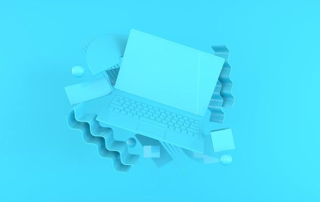 Ноутбук и различные геометрические объекты макет фона 3d визуализации ноутбука в пастельных тонах