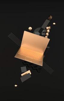 Макет ноутбука и различных геометрических объектов