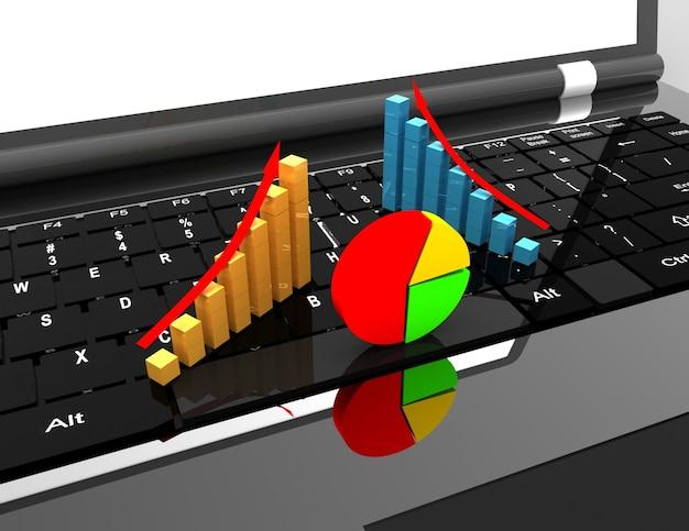 Ноутбук и график. бизнес-концепция