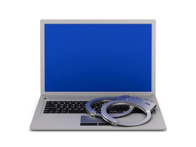 Ноутбук и наручники на белом фоне. изолированные 3d иллюстрации