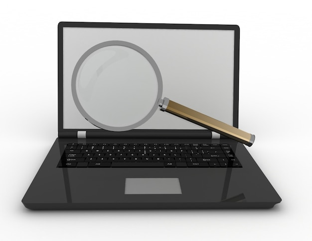 ノートパソコンとレンズのコンセプト
