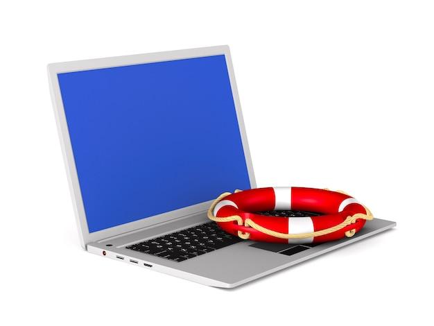 Ноутбук и кольцо жизни на белом. изолированные 3d иллюстрации