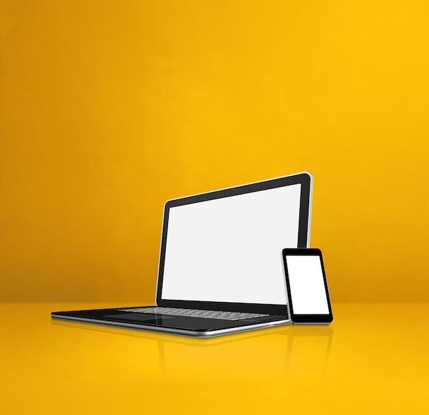 Ноутбук и мобильный телефон на желтом офисном столе. 3d иллюстрации