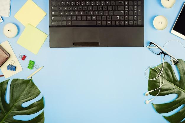Ноутбук и листья монстеры на синем