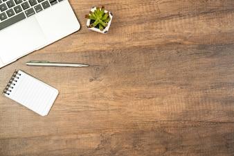 ラップトップ、オフィス、オフィス、コピーライト、木製、テーブル、背景