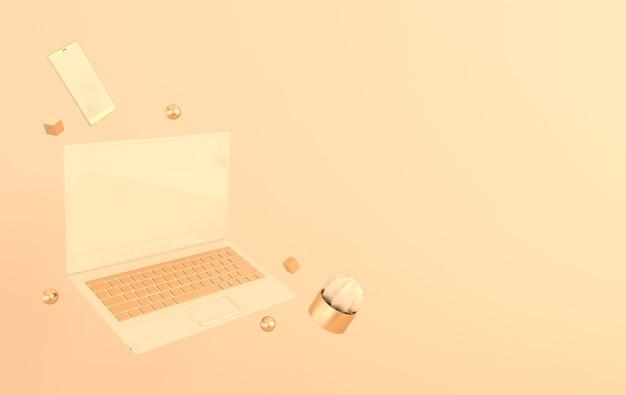 Ноутбук и телефон макет фона ноутбук смартфон и кактус 3d визуализации