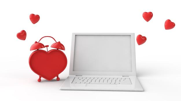 Ноутбук и будильник в форме красного сердца