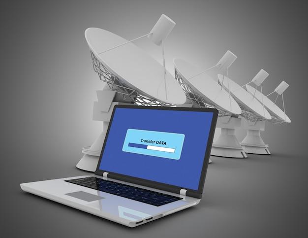 Ноутбук и спутник. интернет-концепция. 3d иллюстрация