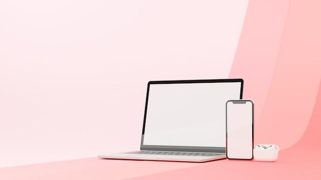 Ноутбук и смартфон с макетным экраном и наушниками на розовом фоне 3d визуализации