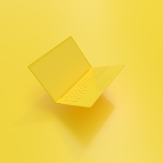 Laptop background with blank screen yellow color