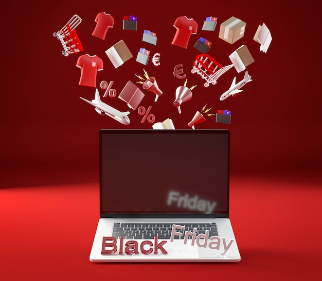 Computer portatile per la sessione di shopping del venerdì nero