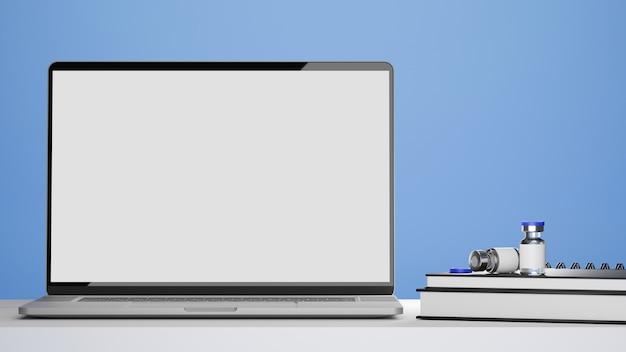 Laptop blank screen mockup vaccine bottles medical books on doctor or pharmacist office desk
