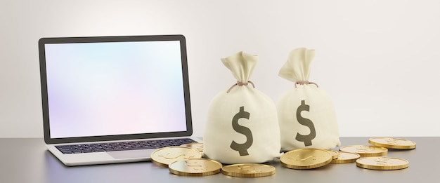 Laptop blank screen with money bag and golden coin. image for financial business concept. 3d illustration rendering image.