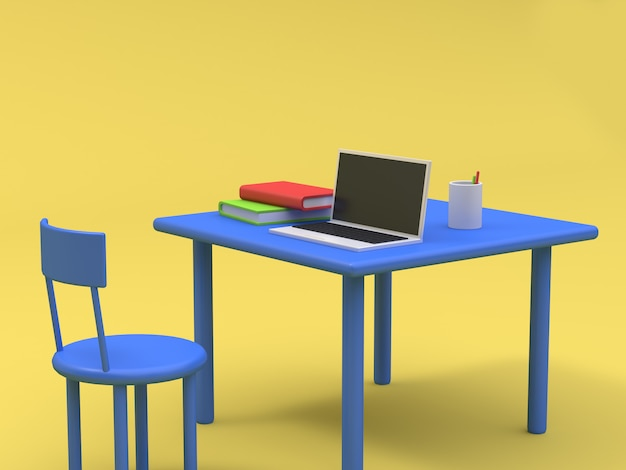 Laptop on blue table and book cartoon style yellow background 3d rendering