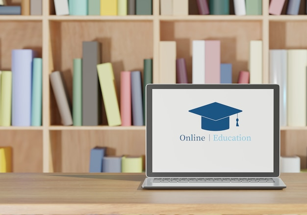 Laptop and books on wooden table, online school concept 3d rendering