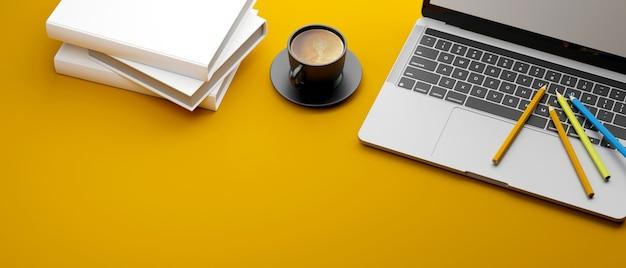 Ноутбук цветные карандаши чашка кофе и стопка книг на желтом фоне 3d-рендеринг 3d-иллюстрация