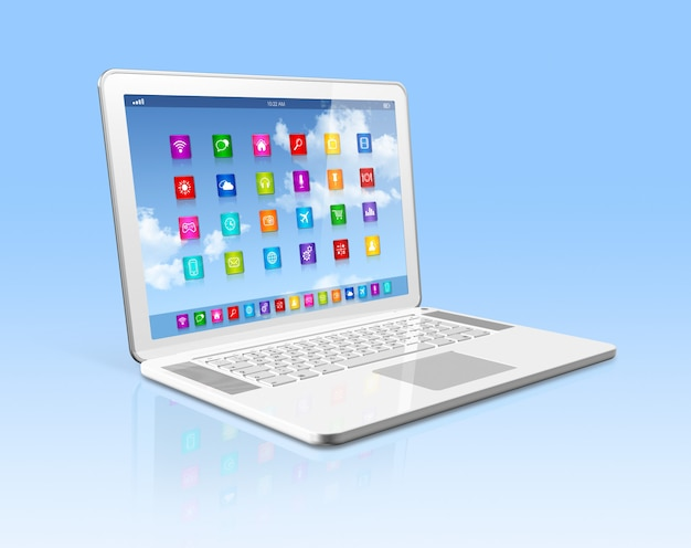 Laptop computer - apps icons interface