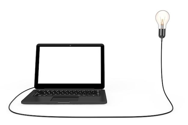 Портативный компьютер подключен к лампочке творческой идеи на белом фоне. 3d рендеринг