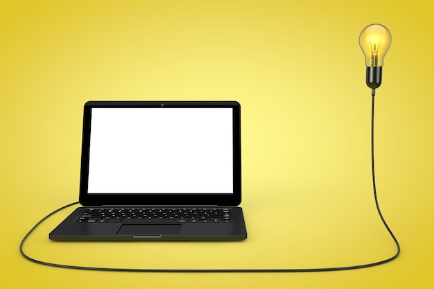Портативный компьютер подключен к лампочке творческой идеи на желтом фоне. 3d рендеринг