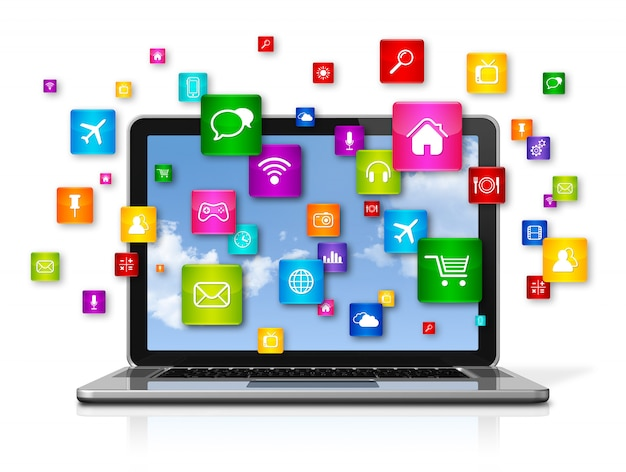 Laptop computer and flying apps icons