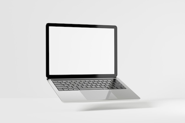 Laptop computer gray silver black with blank white screen. 3d mockup for presentation. 3d illustration rendering.