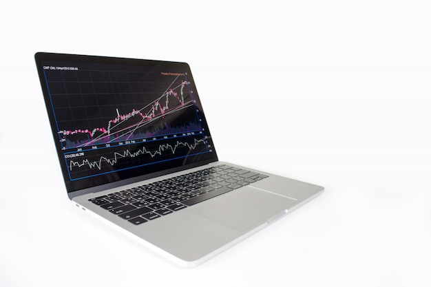 Laptop computer image showing financial graph on screen. financial concept.