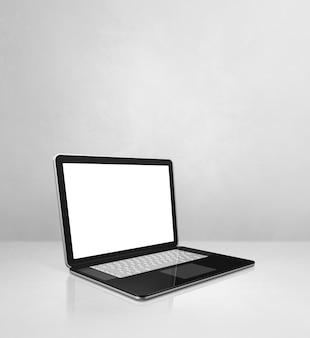 Портативный компьютер на фоне сцены белый бетонный офис. 3d иллюстрации