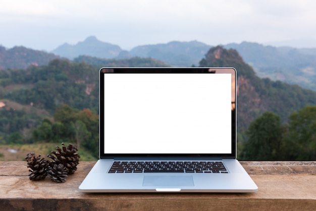 Laptop computer and pine cones on wooden table with mountain view